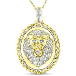 1 CTW Mens Round Diamond Oval Lion Face Rope Charm Pendant 10kt Yellow Gold - REF-95Y9X