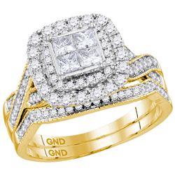 1 CTW Princess Diamond Halo Bridal Wedding Engagement Ring 14kt Yellow Gold - REF-99T3K