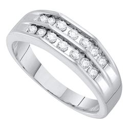 1/2 CTW Mens Round Diamond Double Row Flat Surface Wedding Ring 10kt White Gold - REF-39N6Y