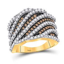 1 & 7/8 CTW Round Brown Diamond Diagonal Stripe Fashion Ring 10kt Yellow Gold - REF-71T9K