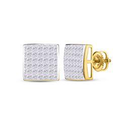 1 CTW Princess Diamond Square Earrings 14kt Yellow Gold - REF-60N3Y