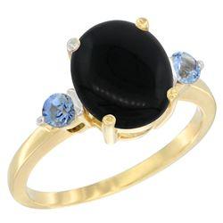 1.79 CTW Onyx & Blue Sapphire Ring 10K Yellow Gold - REF-22M4K