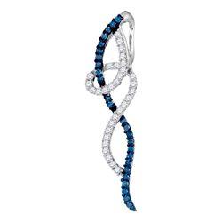 3/8 CTW Round Blue Color Enhanced Coil Diamond Fashion Pendant 10kt White Gold - REF-15N5Y