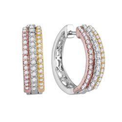 1/2 CTW Round Diamond Hoop Earrings 10kt Tri-Tone Gold - REF-43H5W
