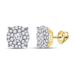 1 & 3/8 CTW Round Diamond Halo Earrings 14kt Yellow Gold - REF-143H9W