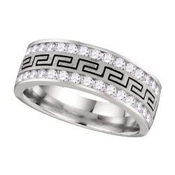 1 CTW Mens Round Diamond Double Row Grecco Greek Key Wedding Ring 14kt White Gold - REF-105N5Y