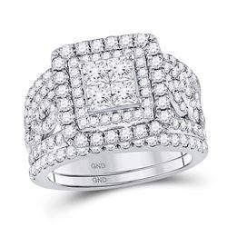 2 & 1/2 CTW Princess Diamond Bridal Wedding Engagement Ring 14kt White Gold - REF-179R9H
