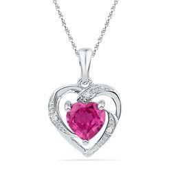 1 CTW Round Lab-Created Pink Sapphire Heart Pendant 10kt White Gold - REF-5R9H