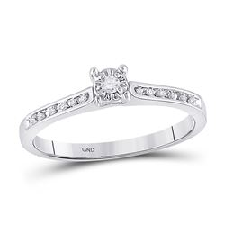 1/10 CTW Round Diamond Solitaire Bridal Wedding Engagement Ring 10kt White Gold - REF-14Y4X