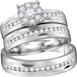 3/4 CTW His & Hers Round Diamond Cluster Matching Bridal Wedding Ring 14kt Yellow Gold - REF-120A3N