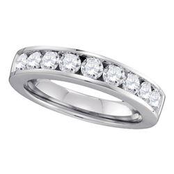 1 CTW Round Diamond Wedding Channel-Set Ring 14kt White Gold - REF-106K3R