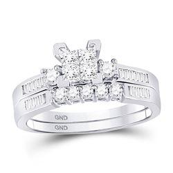 1/2 CTW Princess Diamond Bridal Wedding Engagement Ring 10kt White Gold - REF-33N3Y