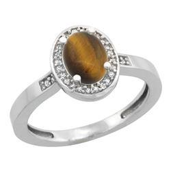 0.90 CTW Tiger Eye & Diamond Ring 14K White Gold - REF-37F3N