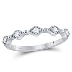 1/8 CTW Round Diamond Stackable Ring 10kt White Gold - REF-14K4R