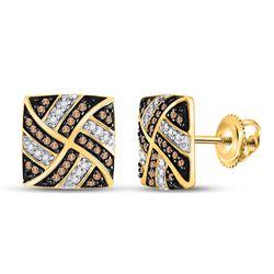 1/4 CTW Round Brown Diamond Square Pinwheel Earrings 10kt Yellow Gold - REF-18X3T