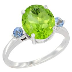3.02 CTW Peridot & Blue Sapphire Ring 14K White Gold - REF-36H3M