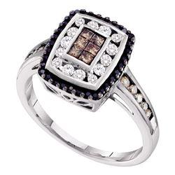 1/2 CTW Princess Brown Black Color Enhanced Diamond Rectangle Cluster Ring 14kt White Gold - REF-47F