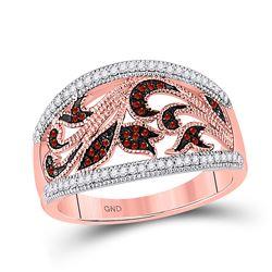 1/4 CTW Round Red Color Enhanced Diamond Milgrain Floral Ring 10kt Rose Gold - REF-30F3M