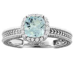 1.32 CTW Aquamarine & Diamond Ring 14K White Gold - REF-48X8M