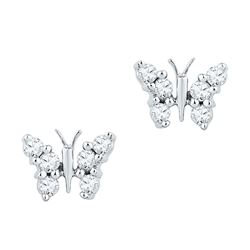 1/5 CTW Round Diamond Butterfly Bug Earrings 10kt White Gold - REF-14N4Y