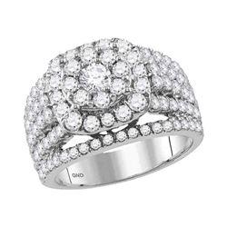 3 CTW Round Diamond Cluster Bridal Wedding Engagement Ring 14kt White Gold - REF-215M9A