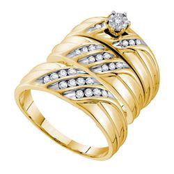 3/8 CTW His & Hers Round Diamond Solitaire Matching Bridal Wedding Ring 14kt Yellow Gold - REF-63K5R