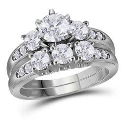 2 CTW Round Diamond 3-Stone Bridal Wedding Engagement Ring 14kt White Gold - REF-377N9Y