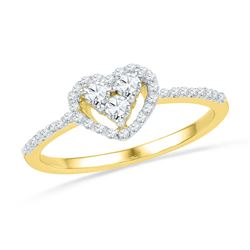 1/3 CTW Round Diamond Slender Framed Heart Cluster Ring 10kt Yellow Gold - REF-20W3F