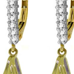 Genuine 6.3 ctw Amethyst & Diamond Earrings 14KT Yellow Gold - REF-56W3Y