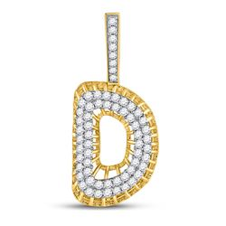"1 CTW Mens Round Diamond ""D"" Charm Pendant 10kt Yellow Gold - REF-60K3R"