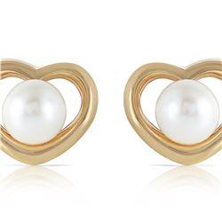 Genuine 4 ctw Pearl Earrings 14KT Yellow Gold - REF-40K7V