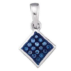 1/20 CTW Round Blue Color Enhanced Diamond Square Pendant 10kt White Gold - REF-4H8W