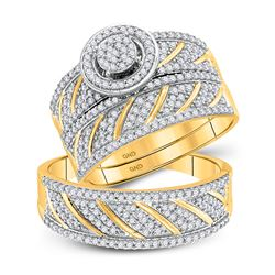 1 CTW His & Hers Round Diamond Cluster Matching Bridal Wedding Ring 10kt Yellow Gold - REF-71N9Y
