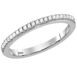 1/8 CTW Round Diamond Single Row Stackable Ring 14kt White Gold - REF-21Y5X