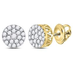 1/2 CTW Round Diamond Concentric Circle Cluster Earrings 14kt Yellow Gold - REF-35M9A