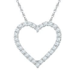 1/4 CTW Round Diamond Heart Pendant 10kt White Gold - REF-16R8H