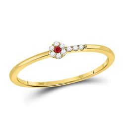 1/20 CTW Round Ruby Diamond Stackable Ring 10kt Yellow Gold - REF-8H4W