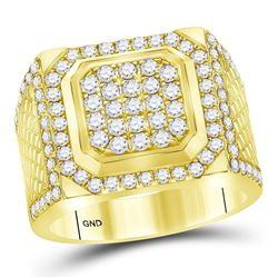 2 CTW Mens Round Diamond Square Cluster Ring 14kt Yellow Gold - REF-177F3M