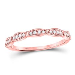 1/8 CTW Round Diamond Stackable Ring 10kt Rose Gold - REF-11K9R
