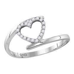 1/8 CTW Round Diamond Held Heart Ring 10kt White Gold - REF-11Y9X