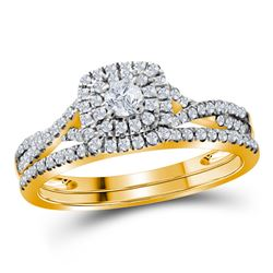 1/2 CTW Round Diamond Halo Bridal Wedding Engagement Ring 10kt Yellow Gold - REF-35R9H