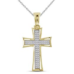 1/6 CTW Mens Round Diamond Gothic Cross Charm Pendant 10kt Yellow Gold - REF-30A3N