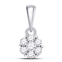 1/4 CTW Round Diamond Flower Cluster Pendant 14kt White Gold - REF-15A3N