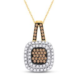 1/2 CTW Round Brown Diamond Square Frame Pendant 10kt Yellow Gold - REF-24Y3X
