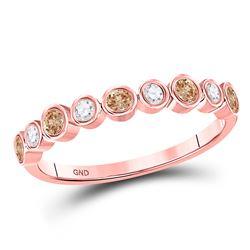 1/3 CTW Round Brown Diamond Ring 10kt Rose Gold - REF-20R3H