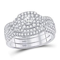 7/8 CTW Round Diamond Bridal Wedding Engagement Ring 14kt White Gold - REF-132M3A