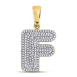 1/2 CTW Mens Round Diamond Letter F Bubble Initial Charm Pendant 10kt Yellow Gold - REF-35W9F