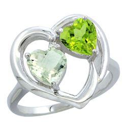 2.61 CTW Diamond, Amethyst & Peridot Ring 14K White Gold - REF-33V9R