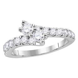 1 CTW Round Diamond 2-stone Bridal Wedding Engagement Ring 14kt White Gold - REF-95W9F