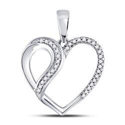 1/10 CTW Round Diamond Heart Fashion Pendant 10kt White Gold - REF-11M9A